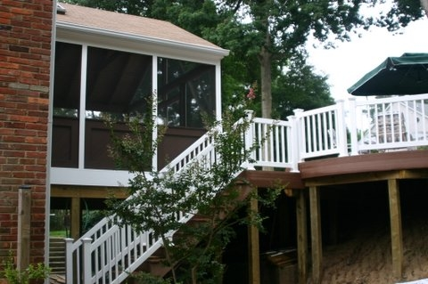 screen porch vinyl railing